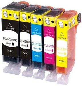Huismerk Canon pixma mg5320 inktcartridges CLI-526 / PGI-525 set (met Chip)