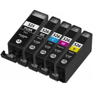 Huismerk Canon pixma mg5150 inktcartridges CLI-526 / PGI-525 set (met Chip)