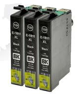 Huismerk Epson Expression Home XP-225 cartridges T18 XL BK (T1811) set 3 stuks
