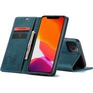 """CaseMe Retro Wallet Slim voor iPhone 12 / 12 Pro (6.1"""") Blauw"""