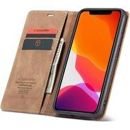 """CaseMe Retro Wallet Slim voor iPhone 12 / 12 Pro (6.1"""") L.Bruin"""