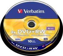 Verbatim DVD+RW 4.7 GB Matt Silver 10 stuks