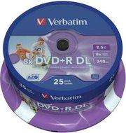 Verbatim DVD+R DL 8.5 GB Inkjet Printable 25 stuks